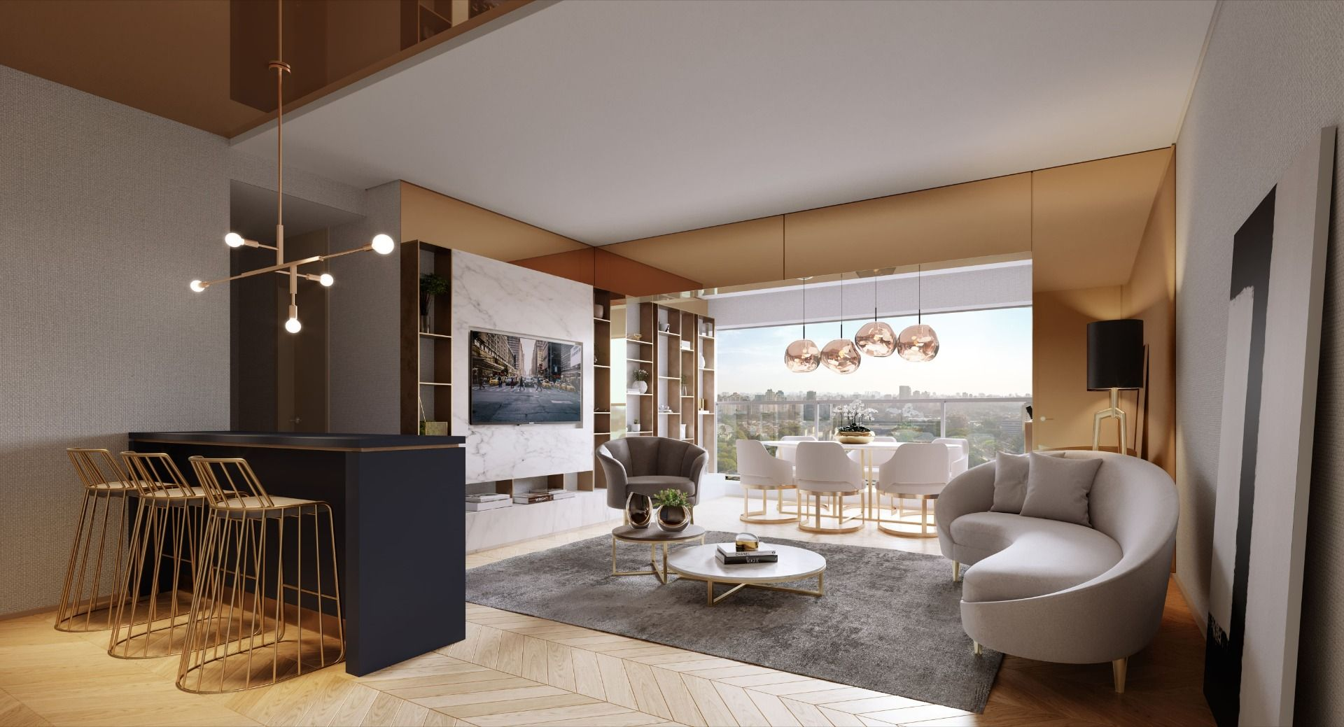 LIVING do apto de 73 m² do Cyrela Iconyc - High Line