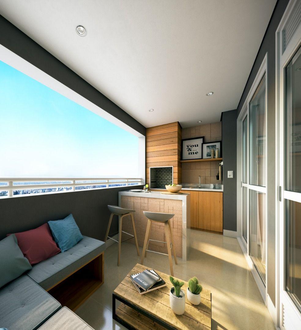 TERRAÇO GOURMET com churrasqueira do apto de 65 m² do Residencial Paradiso