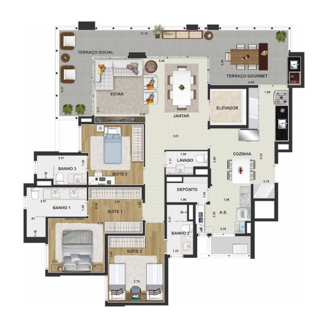 Planta do Residencial Piemonte. 133 M² - 3 SUÍTES. Apartamento em Santo André com elevador privativo, lavabo e churrasqueira a carvão. Destaque para o terraço com mais de 11 m de extensão integrando área de convívio e área gourmet.
