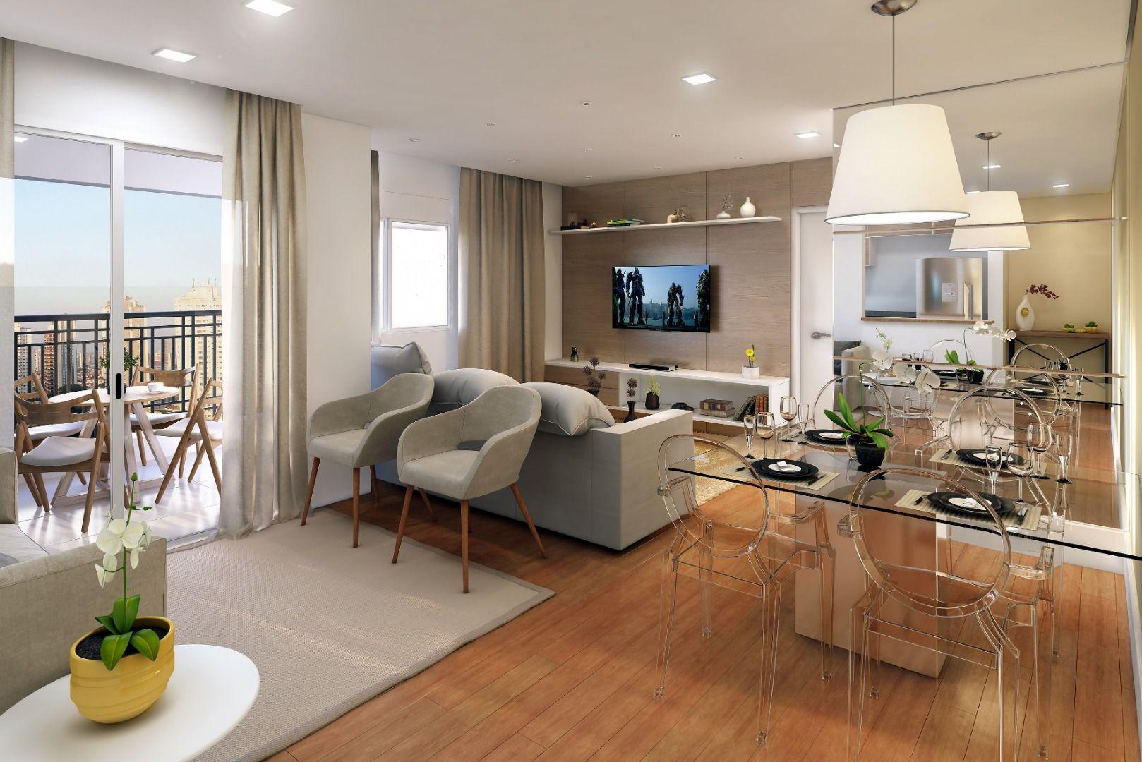 LIVING ampliado do apto de 61 m² integrado ao terraço. Muito espaço para receber os amigos! do Bienvenido