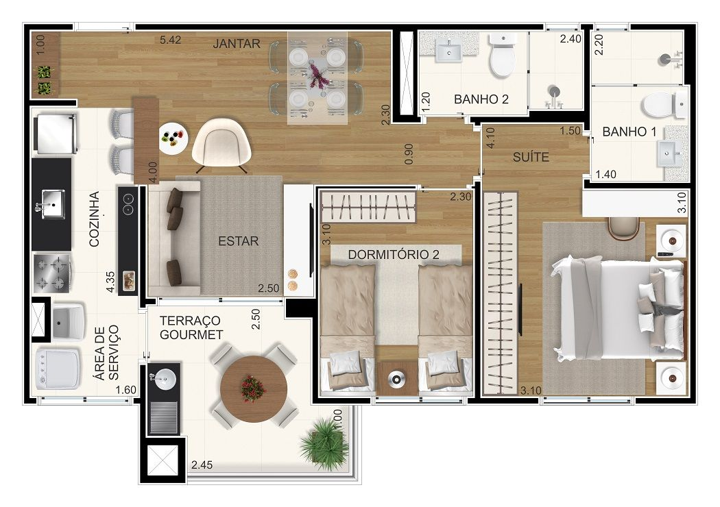 Planta do Bienvenido. 61 M² - 2 DORMITÓRIOS, SENDO 1 SUÍTE. Apartamento em Santo André com living integrado ao terraço gourmet com churrasqueira. Destaque para os banheiros com janela, proporcionando ventilação natural.