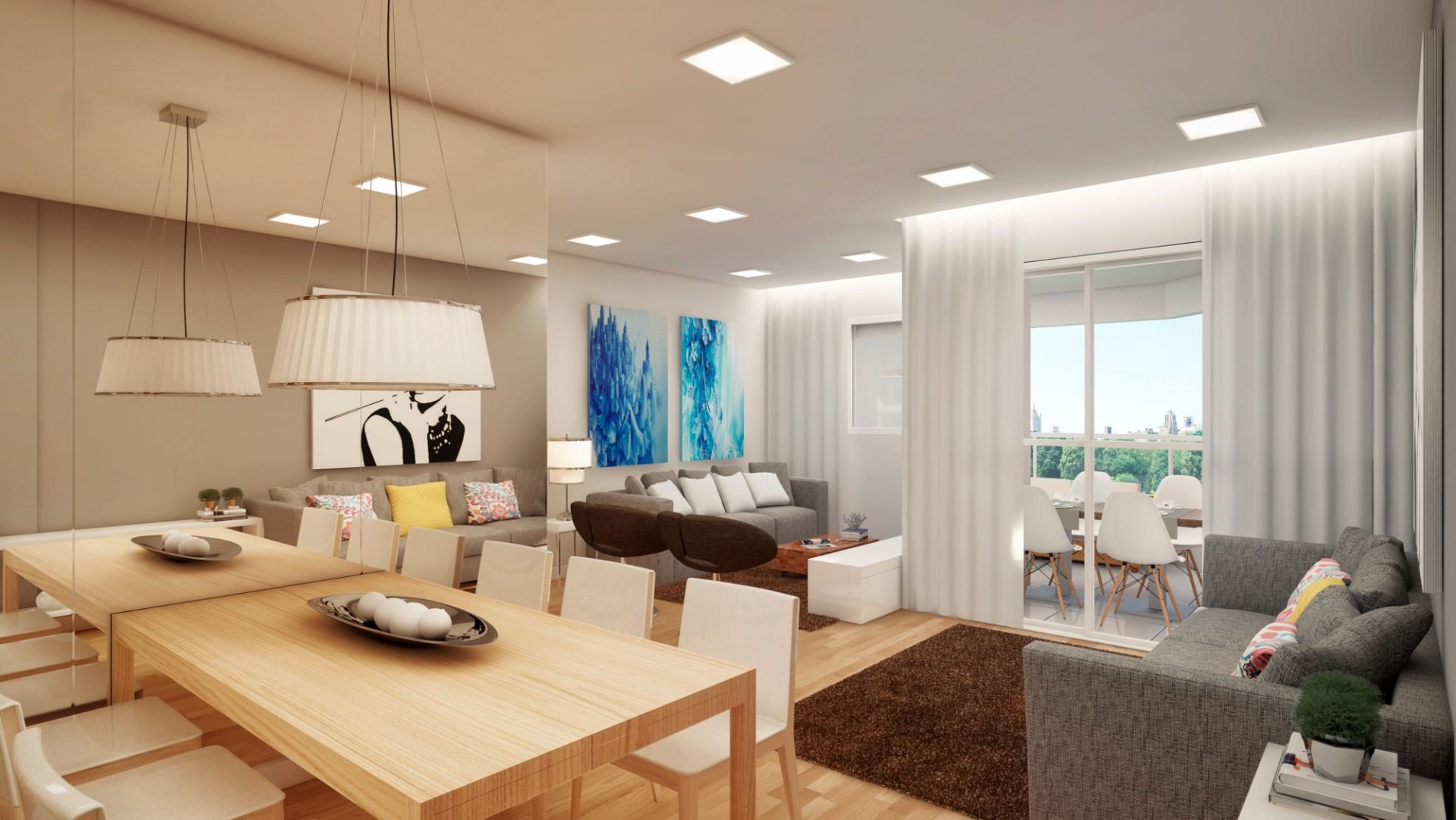 LIVING AMPLIADO do apto de 91 m² - Espaçoso living com 3 ambientes integrados e bem distribuídos com terraço gourmet.