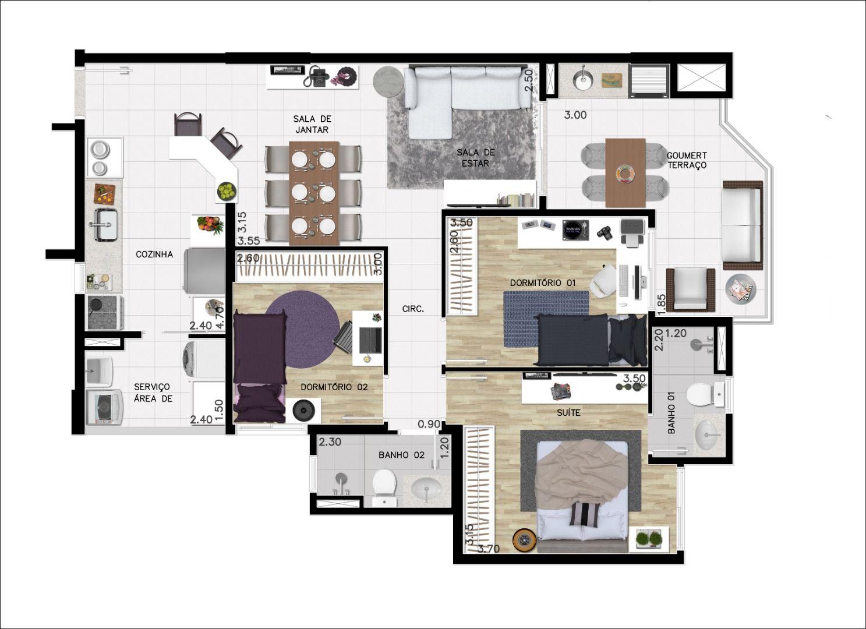 91 M² - 3 DORMITÓRIOS SENDO 1 SUÍTE espaço living com 3 ambientes integrados e bem distribuídos com terraço gourmet.