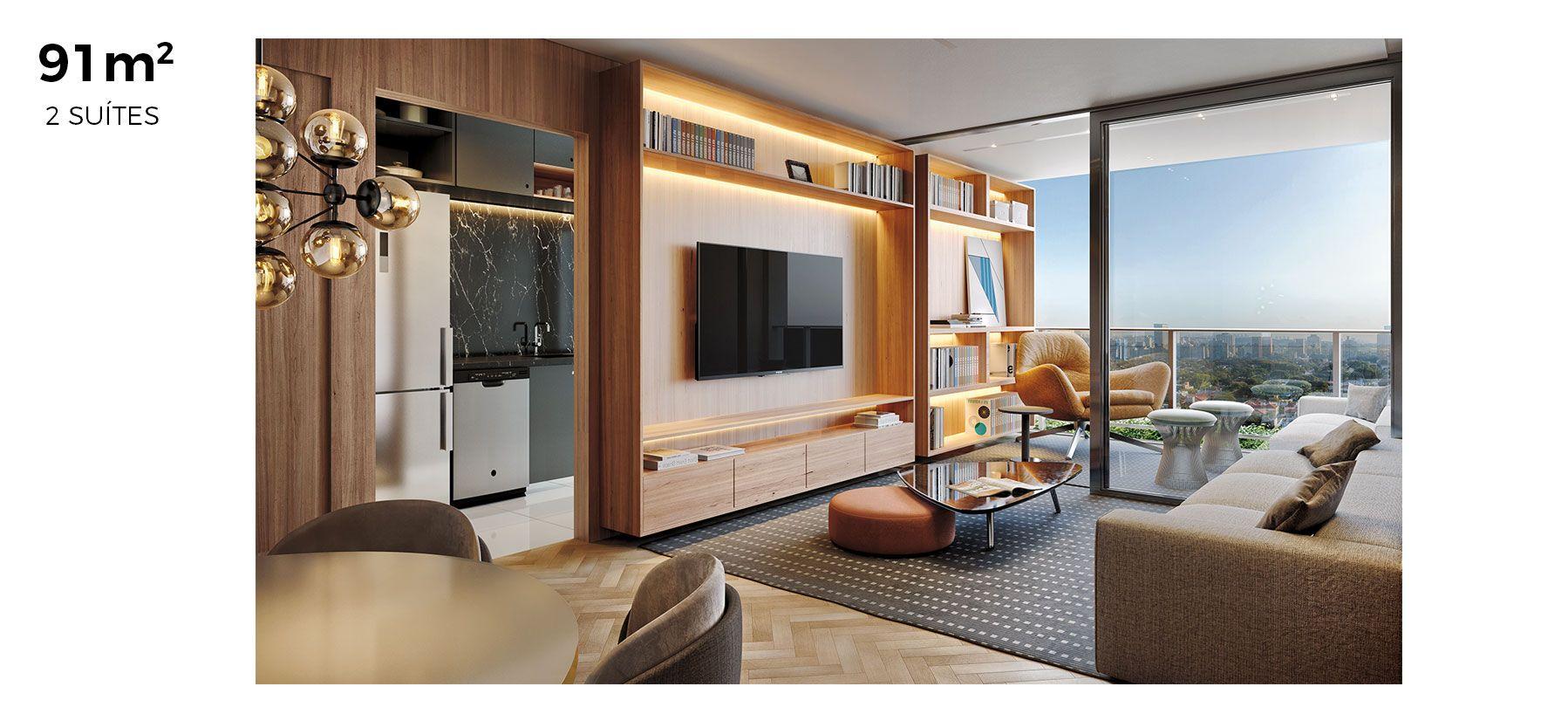 LIVING do apto de 91 m².