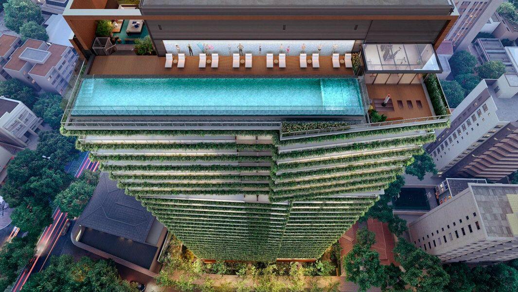 ROOFTOP com piscina aquecida com raia de 25 metros.