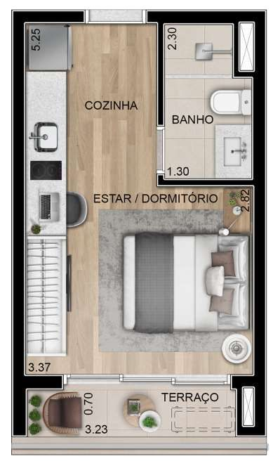 Planta do Alle Studios. floorplan