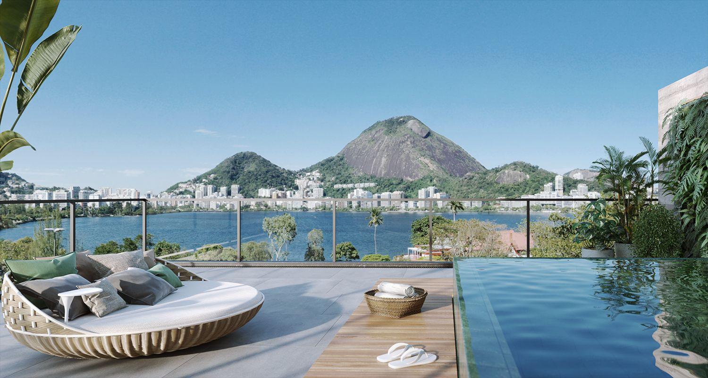 TERRAÇO do apto 604, uma cobertura duplex com vista incrível da Lagoa Rodrigo de Freitas. Conta com possibilidade de aquisição de piscina e churrasqueira, proporcionando um lazer privativo para que você aproveite os dias ensolarados!