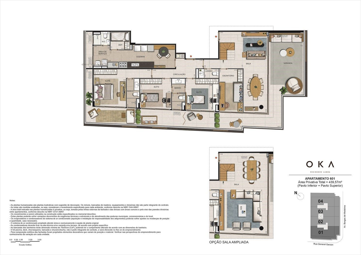 Planta do OKA Residence Lagoa. floorplan