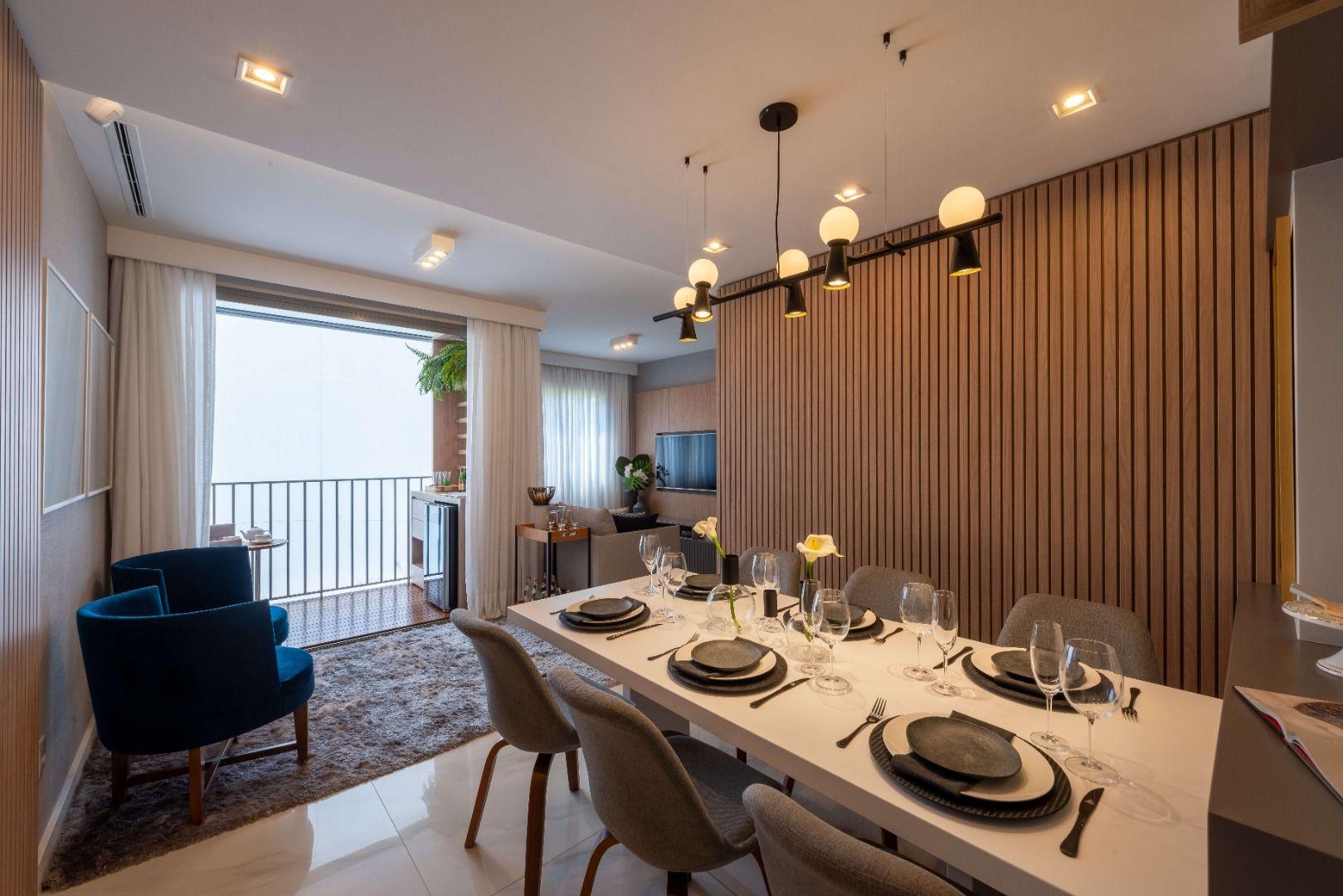 LIVING do apto de 61 m² com opção de terraço integrado ao living. Um espaço fluido que amplia o ambiente para receber amigos e família.