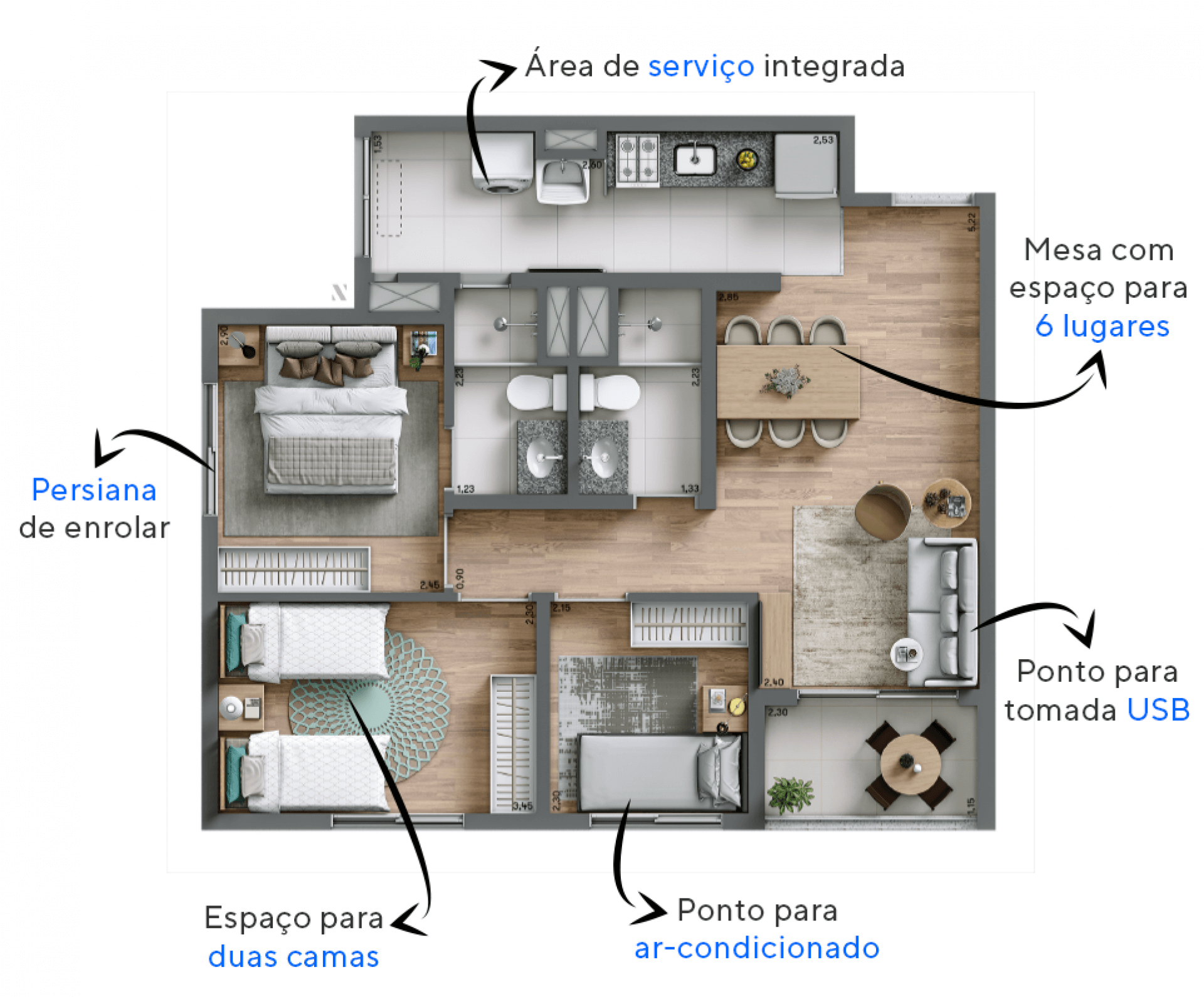 61 M² - 3 DORMITÓRIOS, SENDO 1 SUÍTE. Apartamentos do Open Marajoara conta com uma suíte que possibilita a colocação de uma cama de casal. A área social possui boa circulação tornando o espaço confortável, uma ótima opção para casais com filhos.