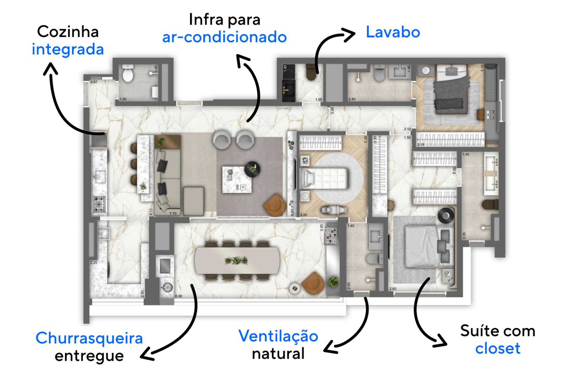 131 M² - 3 SUÍTES. Apartamentos na Vila Mariana, com opção de cozinha aberta integrada ao living. Destaque para o living com boca de sala com mais de 6 metros.
