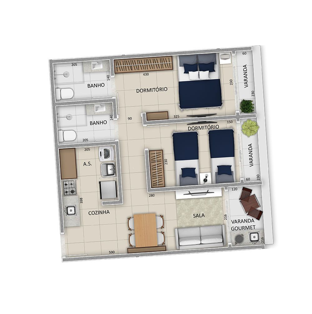 Planta do Residencial Blue Park. floorplan