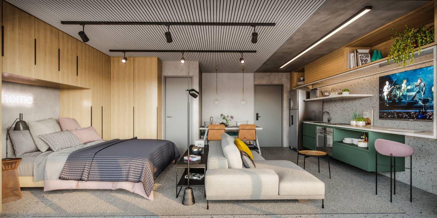 LIVING do apto de 43 m² como opção studio, proporcionando maior integração entre os ambientes.