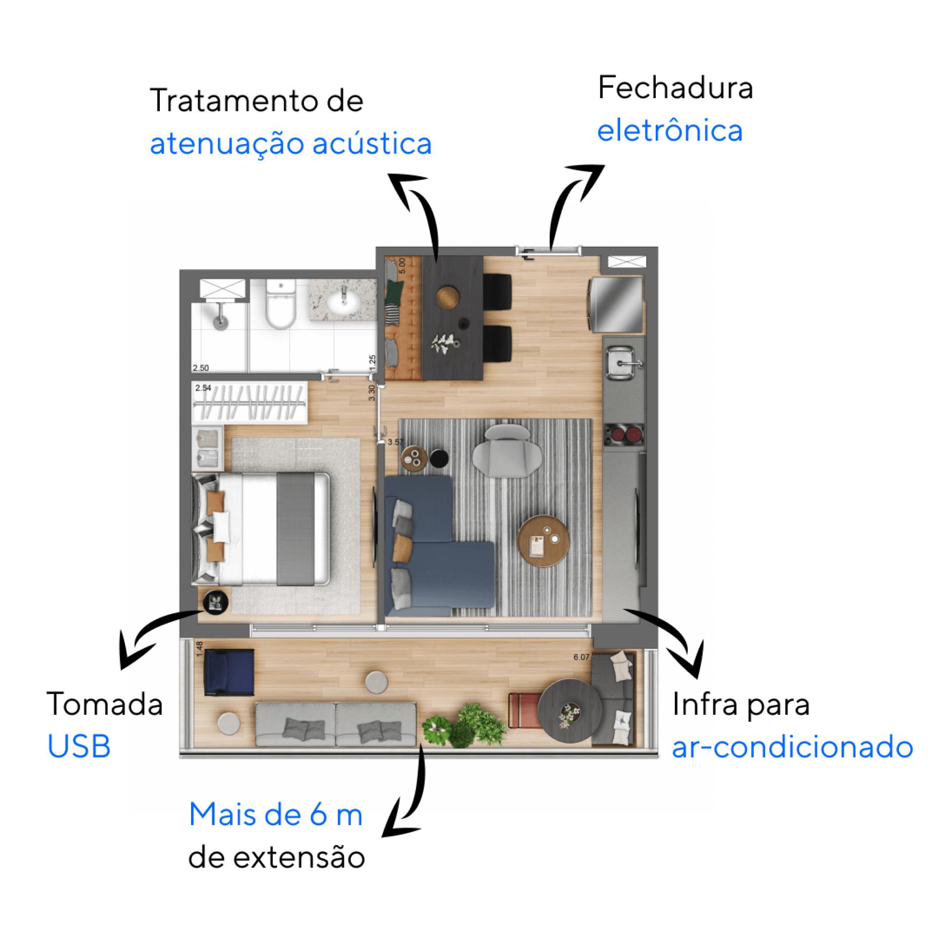 43 M² - 1 DORMITÓRIO. Apartamentos na República com 1 dormitório. Destaque para o terraço com mais de 6 metros de frente, integrado ao living e a suíte, permitindo maior iluminação e ventilação natural.