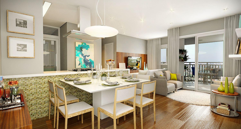 LIVING do apto de 74 m² integrado a cozinha americana, permitindo maior área social.