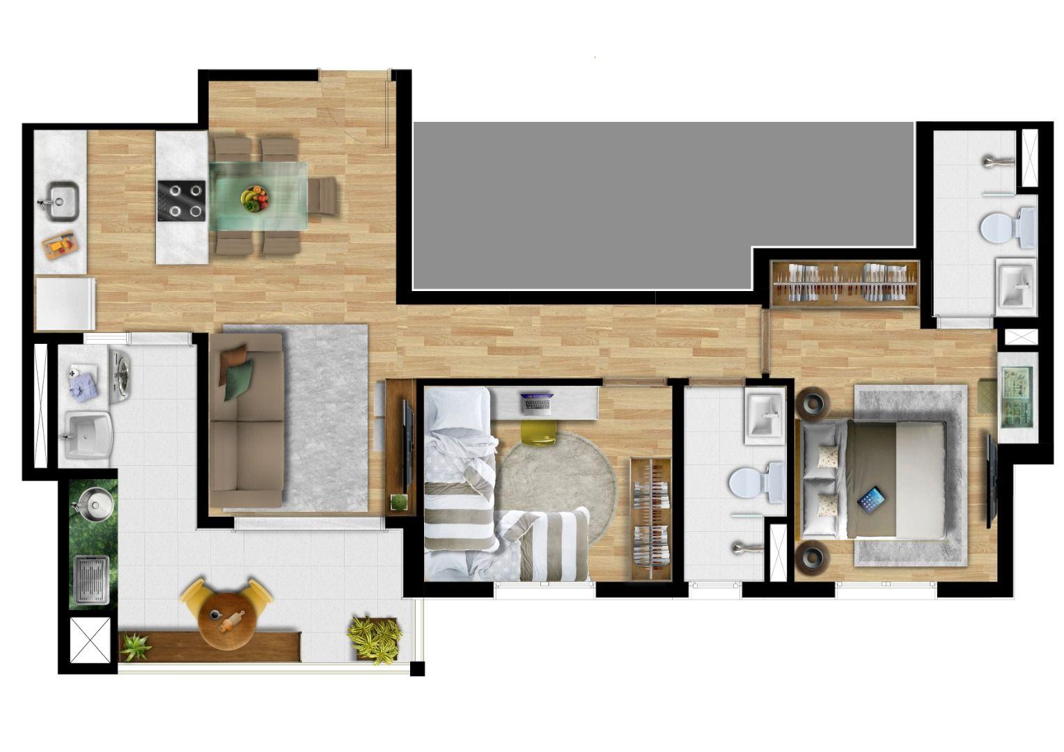 Planta do The Gate. 66 M² - 2 DORMITÓRIOS, SENDO 1 SUÍTE. Apartamentos em Picanço com opção de cozinha americana integrada ao living. A suíte possui infraestrutura para ar-condicionado.
