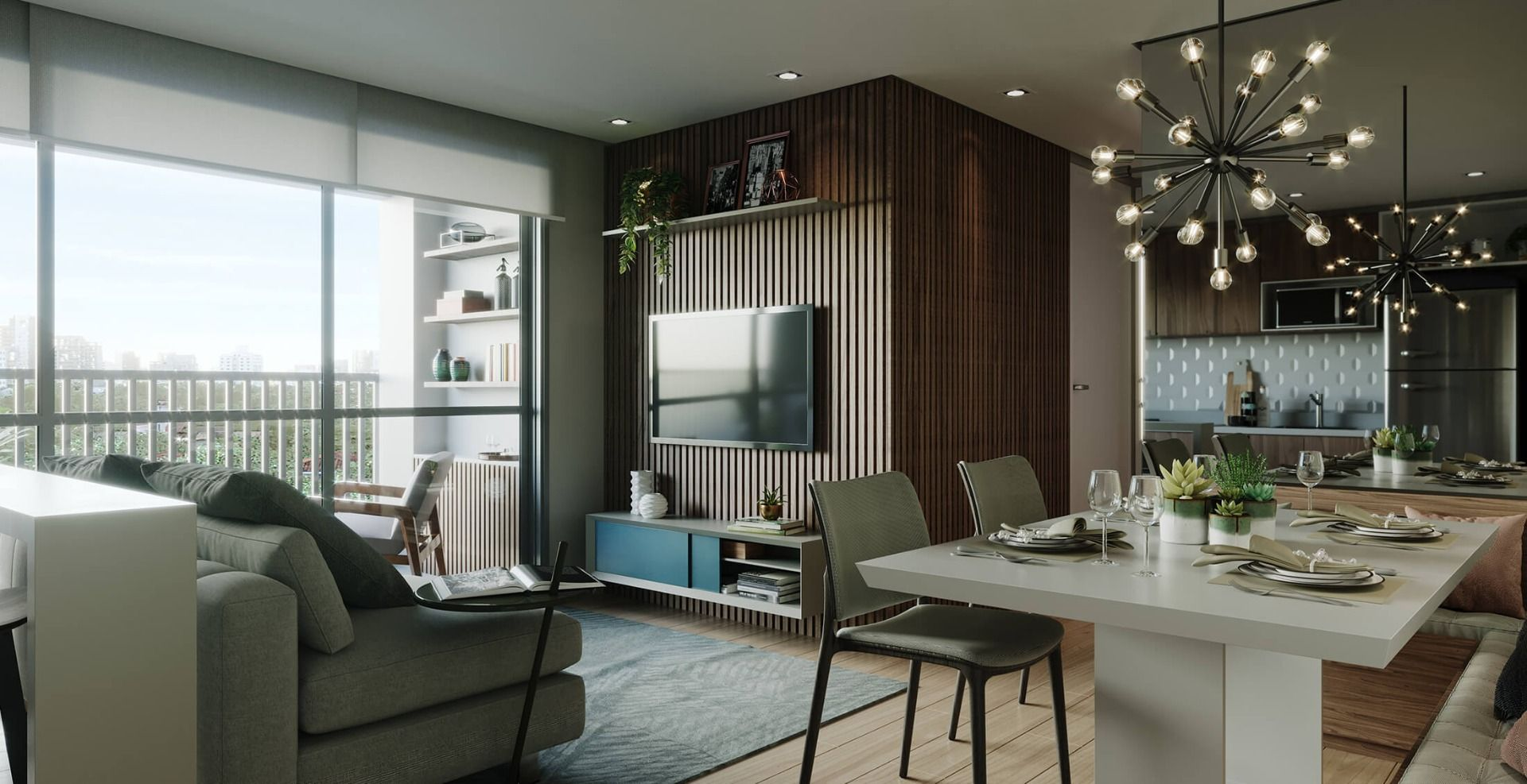 LIVING do apto de 57 m².
