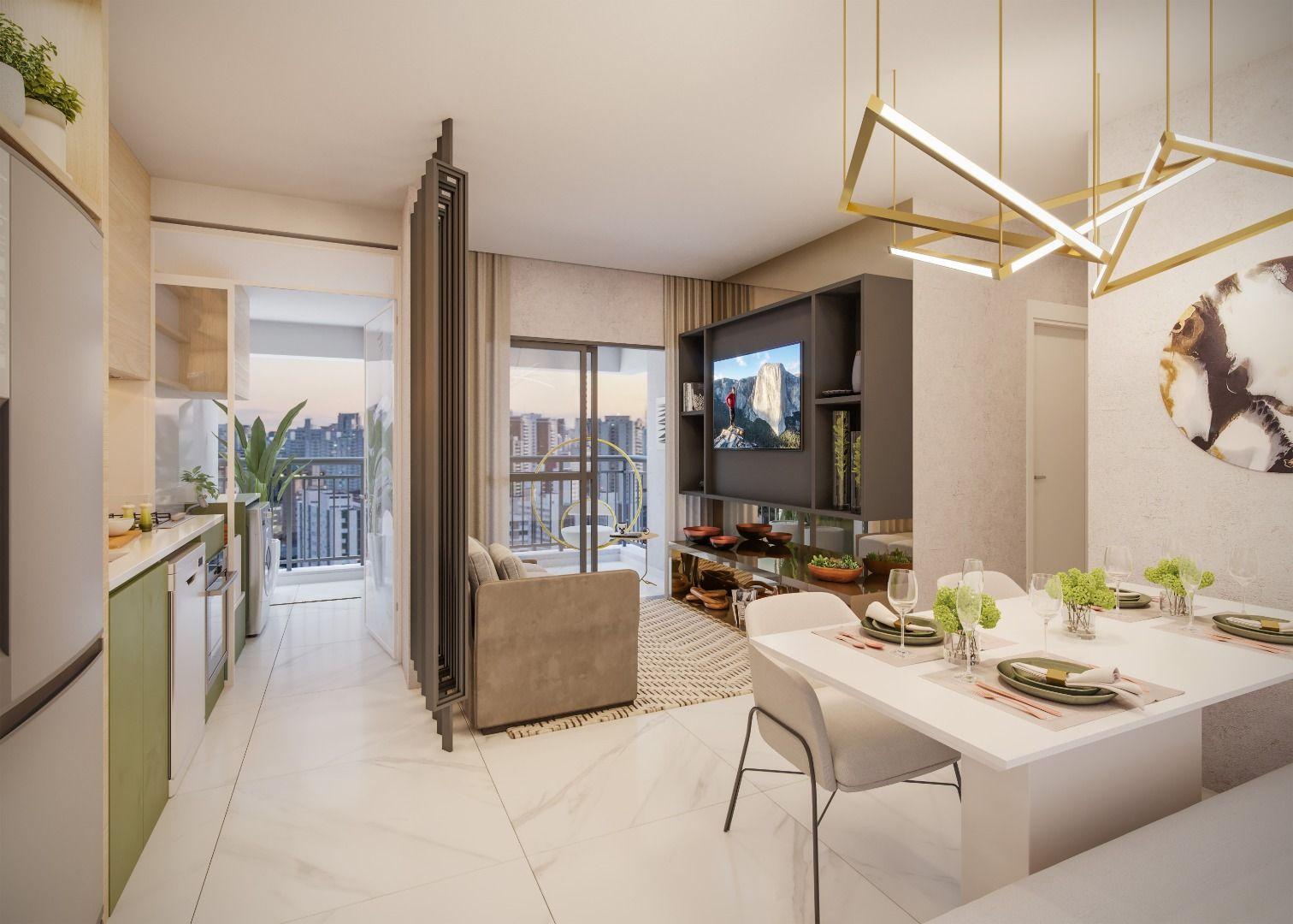LIVING do apto de 54 m² do Z. Ibirapuera