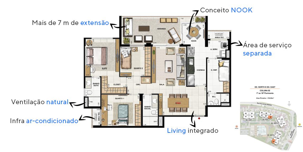 Planta do Latitud Condominium Design - North e East. floorplan