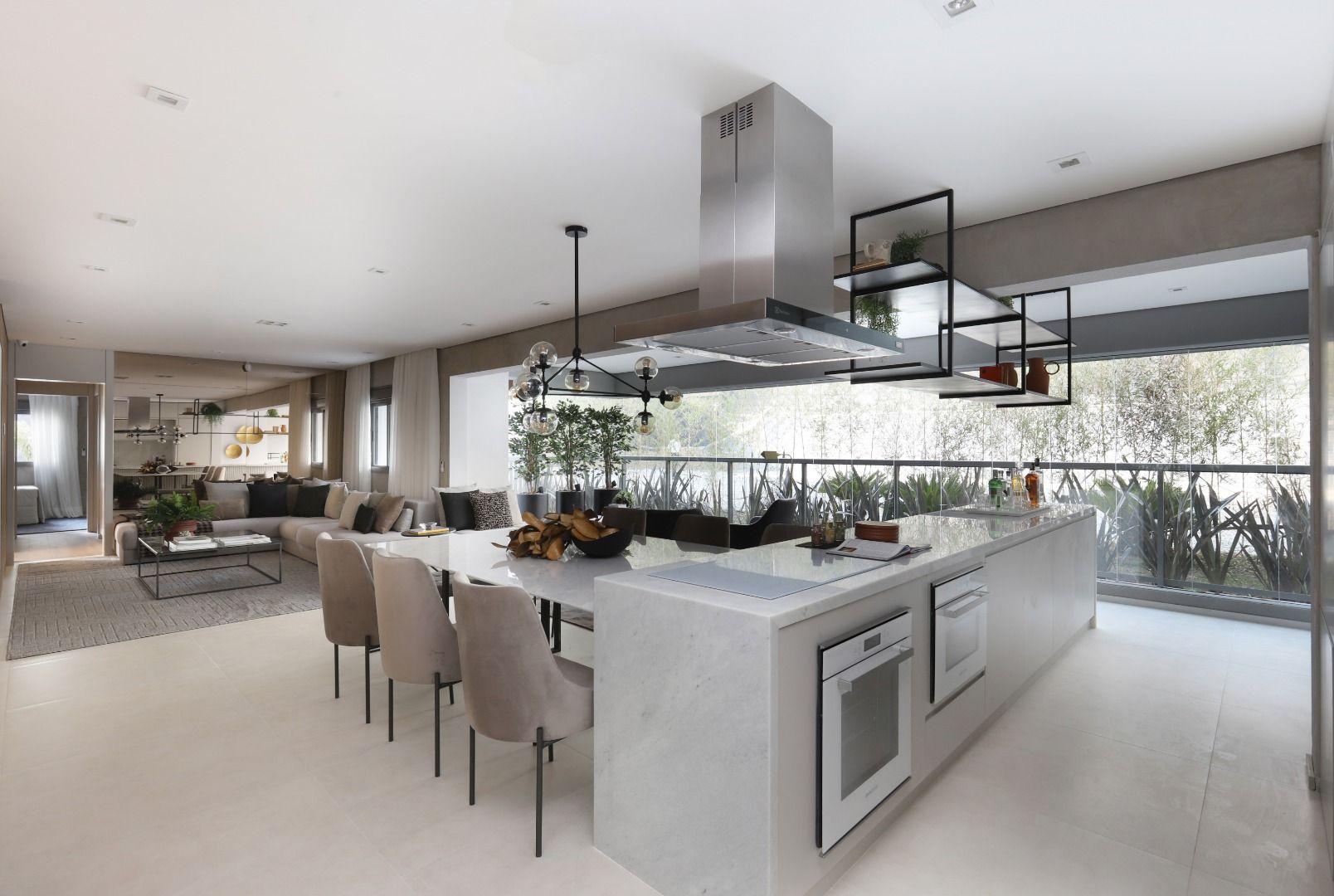 LIVING E COZINHA do apto de 155 m².