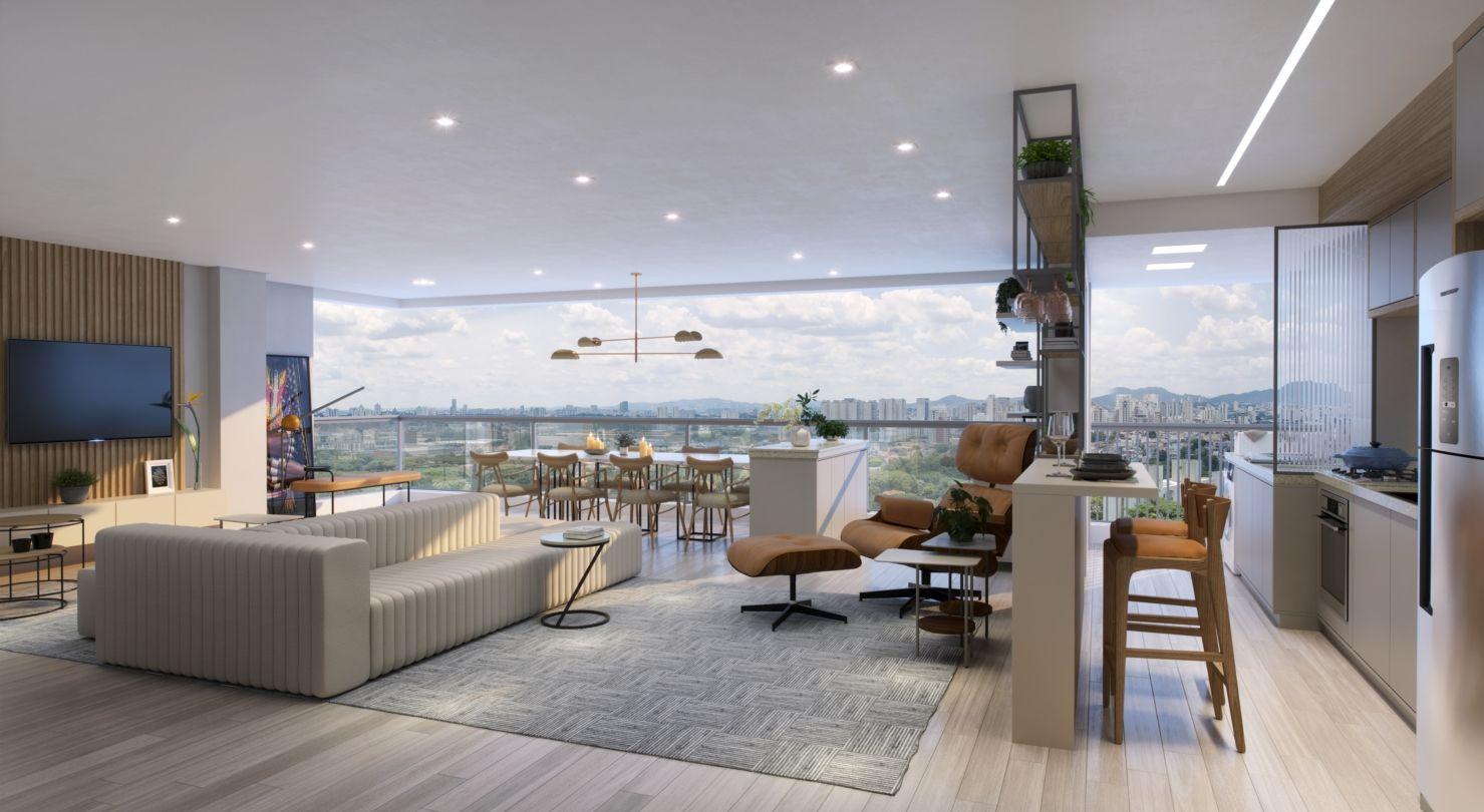 LIVING AMPLIADO do apto de 110 m² do Sonare Alto de Pinheiros
