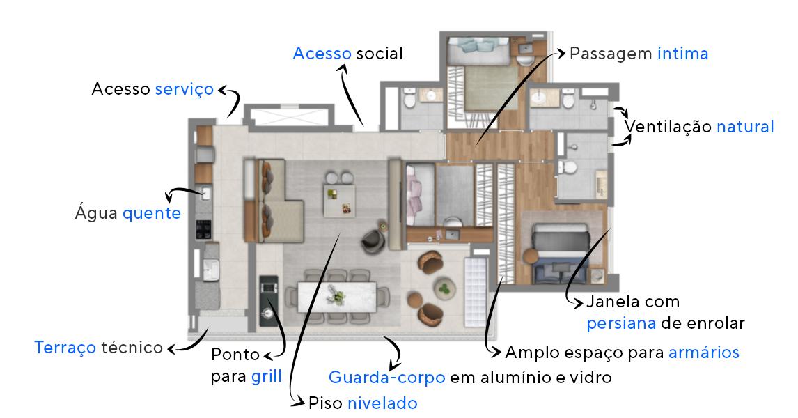 110 M² - 3 DORMITÓRIOS, SENDO 1 SUÍTE. Apartamentos no Sonare Alto de Pinheiros, com ampla área social e piso da sala de estar nivelado com o piso do terraço. Conta com passagem íntima, garantindo mais privacidade e dormitórios com espaço para bancada.