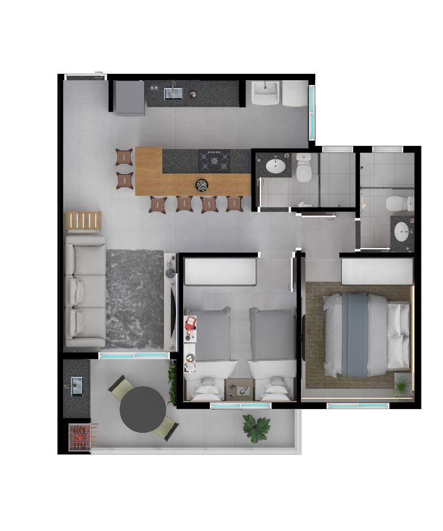 Planta do Residencial Ibiza. floorplan