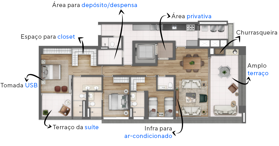 Planta do Clári Pinheiros. floorplan