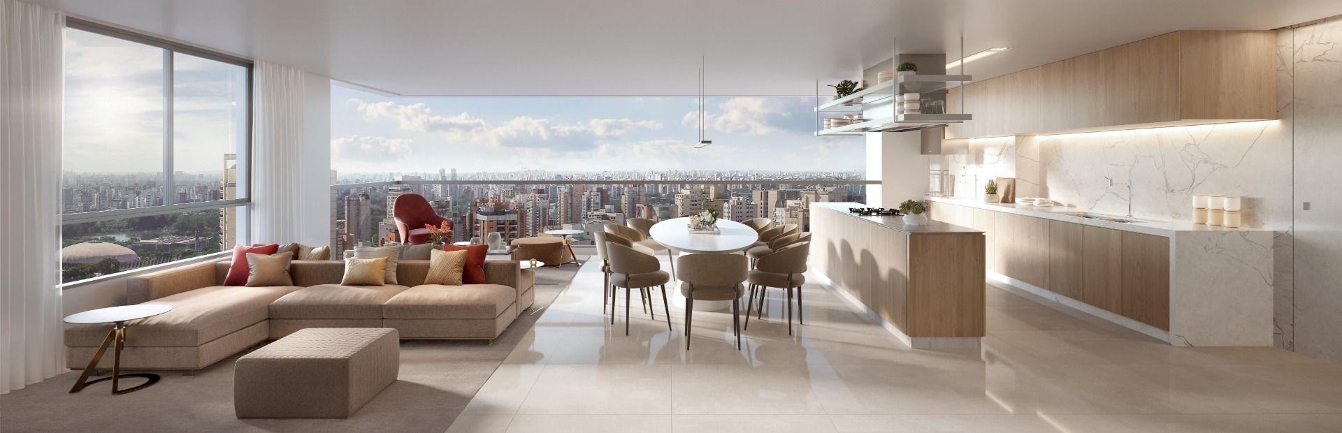 LIVING E COZINHA do apto de 156 m² integrados ao terraço. A cozinha ampla, com ilha central de mais de 2 m e espaço para armários, garante conforto na hora de preparar refeições especiais.