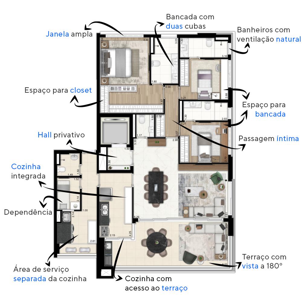 156 M² - 3 SUÍTES. Apartamentos no Paraíso com hall privativo e ampla área social. As mesas amplas sugeridas na decoração, com 6 e 8 lugares, garantem muito conforto para você receber a família.
