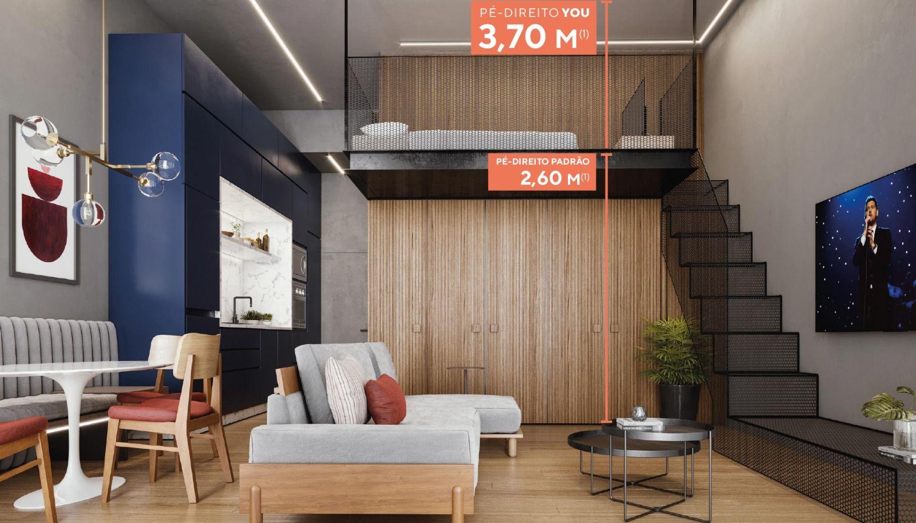 1 DORMITÓRIO. Apartamentos com pé-direito de 3,70 m, possibilitando a criação de mezanino para ambiente suspenso. Destaque para a cozinha integrada, que conta com previsão para cooktop e forno elétrico, além de infra para máquina de lavar louça e roupa.