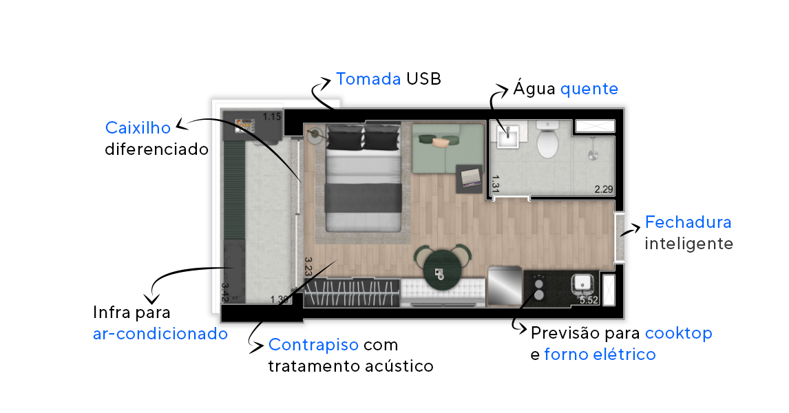STUDIO. Apartamentos studios em Indianópolis com pé-direito ampliado e contrapiso acústico. Conta com espaço espaço para sala de 6 lugares e caixilho diferenciado na porta de acesso ao terraço, proporcionando entada de iluminação natural.