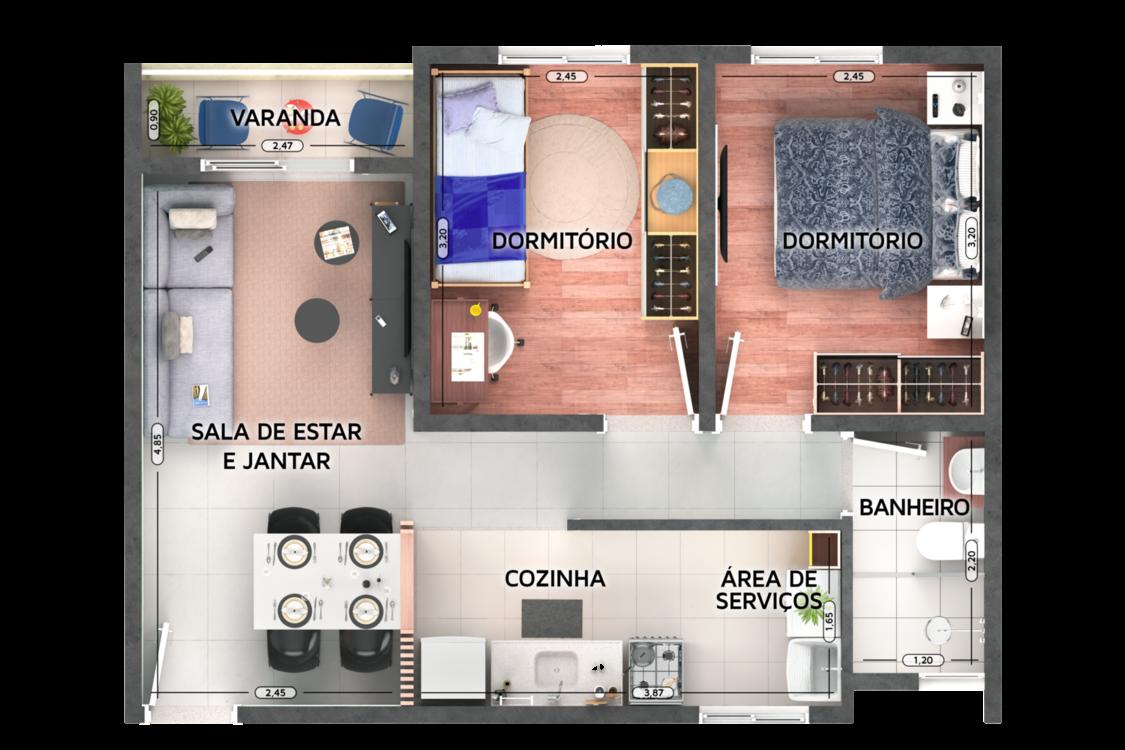48 M² - 2 QUARTOS. Apartamento em Cotia com área social e dos quartos com boa separação. Destaque para cozinha e sala integradas. Banheiro conta com ventilação natural.