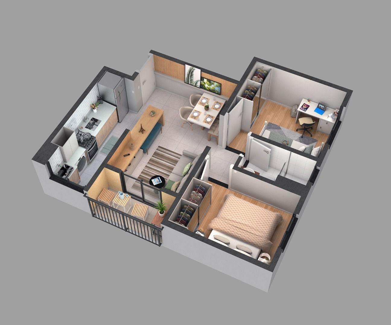 42 M² - 2 QUARTOS. Cozinha integrada à sala com acesso ao terraço. Destaque para o aparador que se transforma em bancada americana de apoio à cozinha.