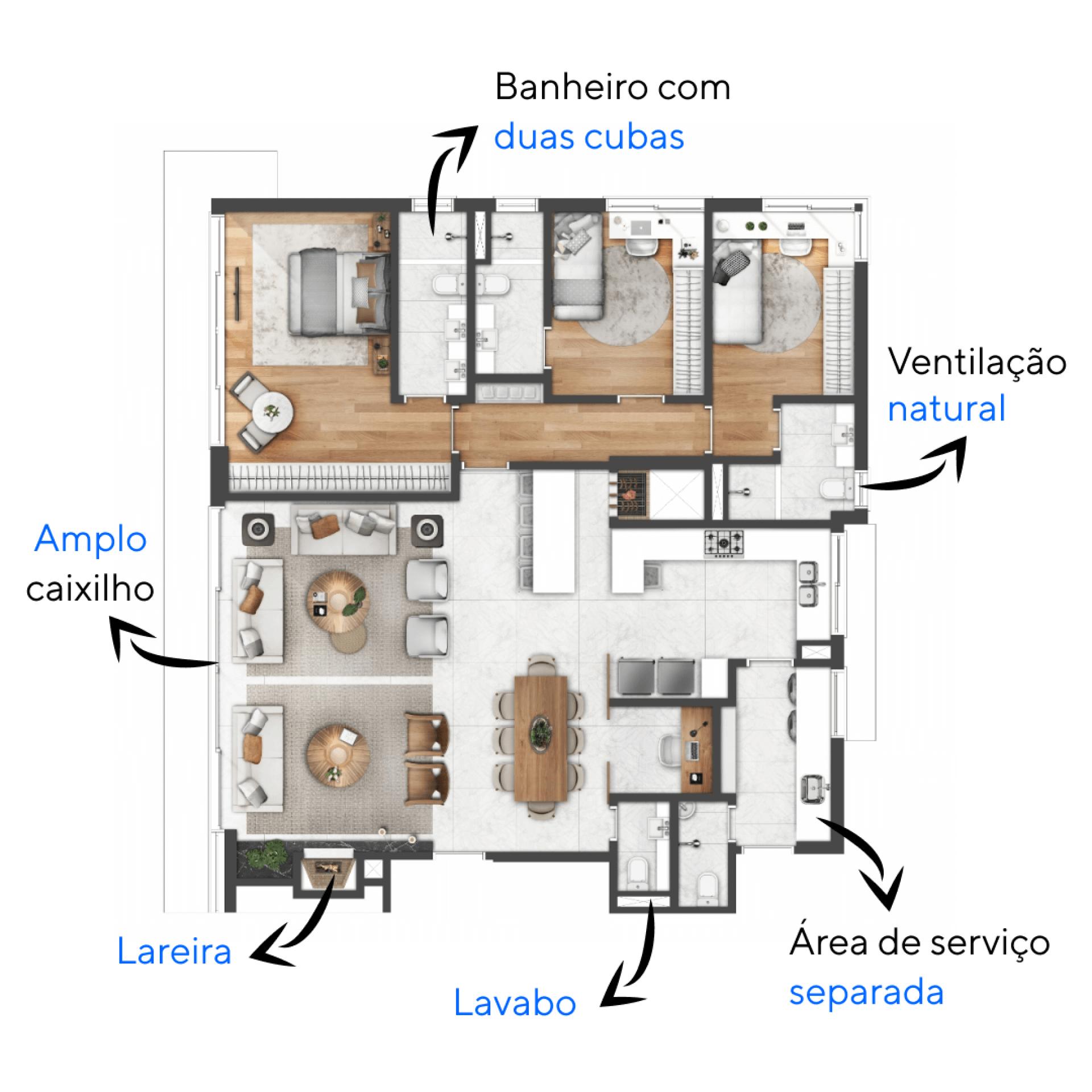 159 M² - 3 SUÍTES. Apartamentos do Artur 505 com opção de home office integrado ao living, conta com lareira e churrasqueira com bancada.