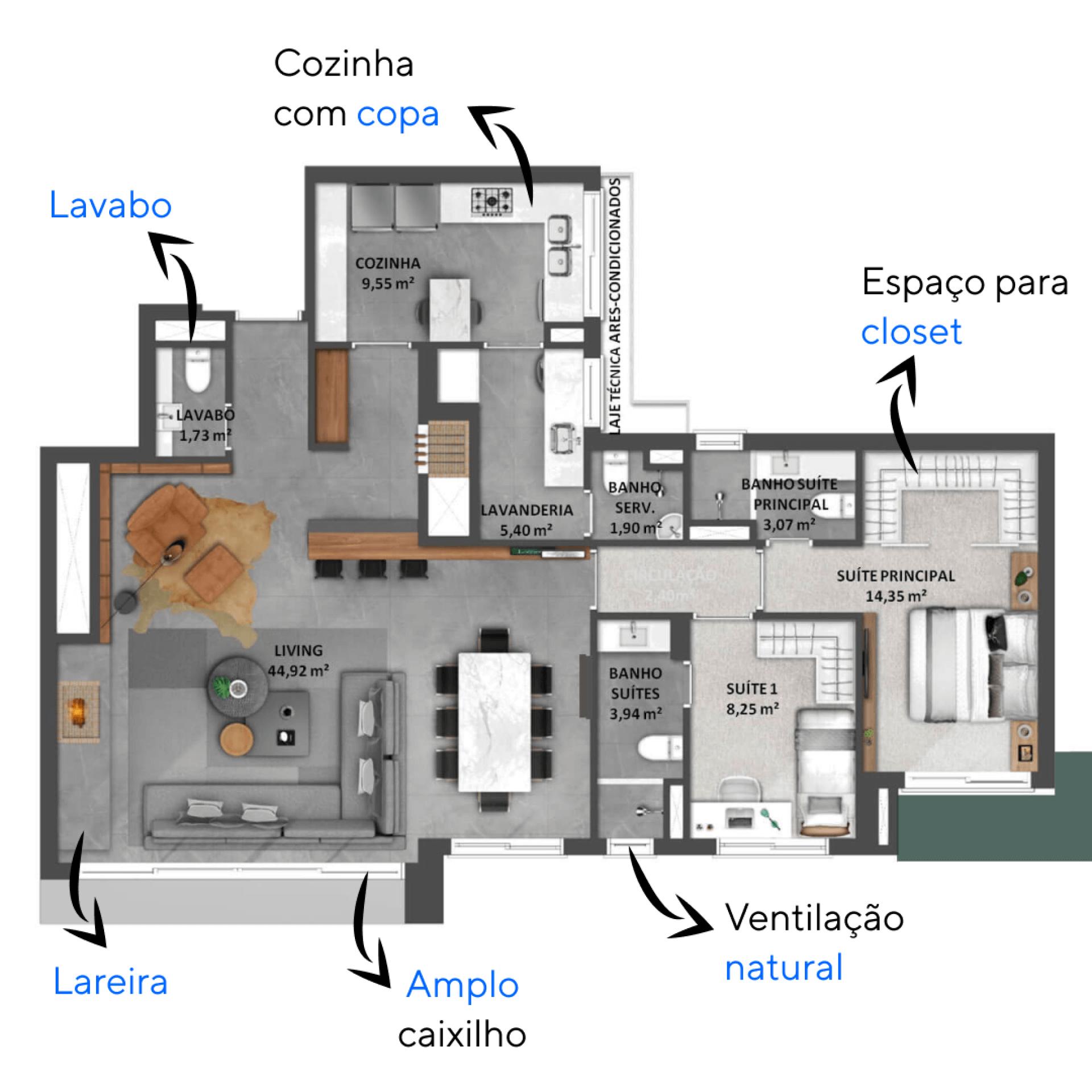 119 M² - 2 SUÍTES. Apartamentos do High Garden com living estendido que sozinho soma mais de 44 m², ótimo para receber amigos. Ampla lavanderia e cozinha, com generosas janelas e bem integrada à churrasqueira.