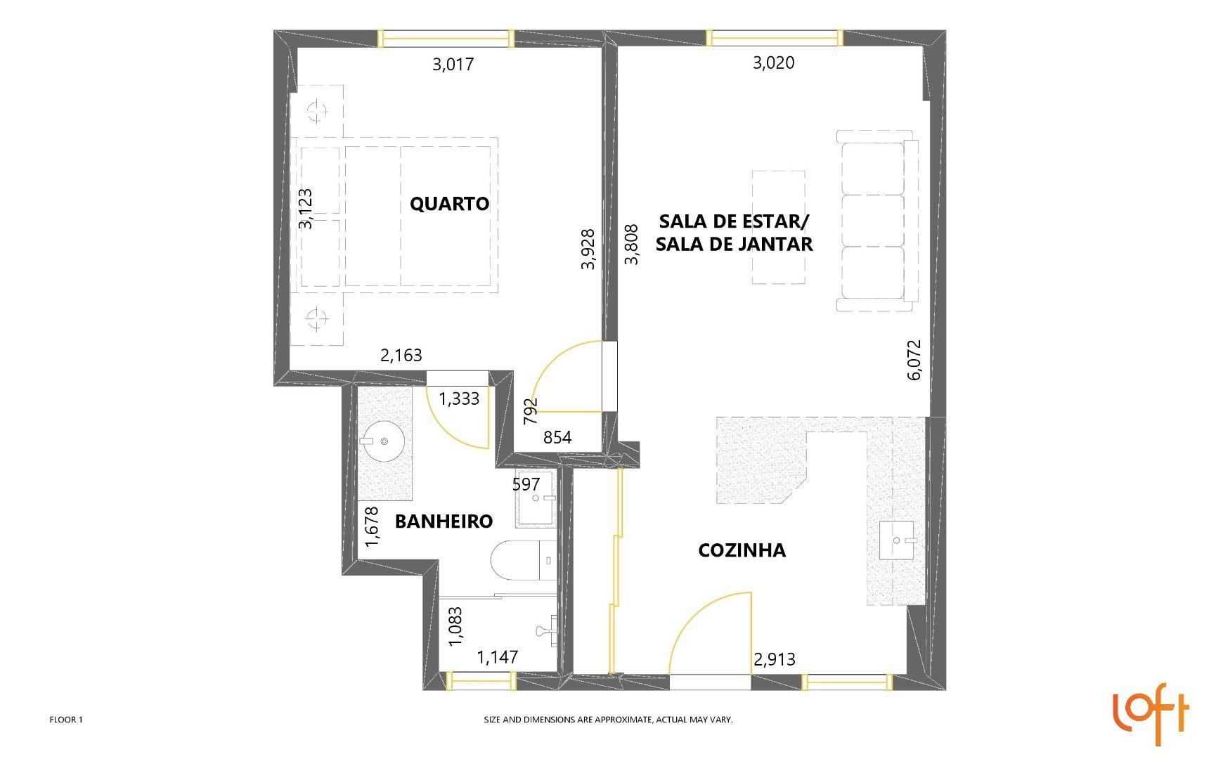 41 M² - 1 SUÍTE. (Apartamento 102).