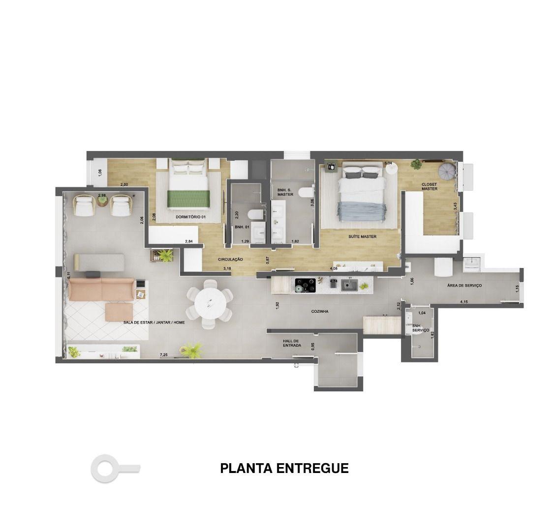 120 M² - 2 QUARTOS, SENDO 1 SUÍTE. (Apartamento 103, 1º andar).