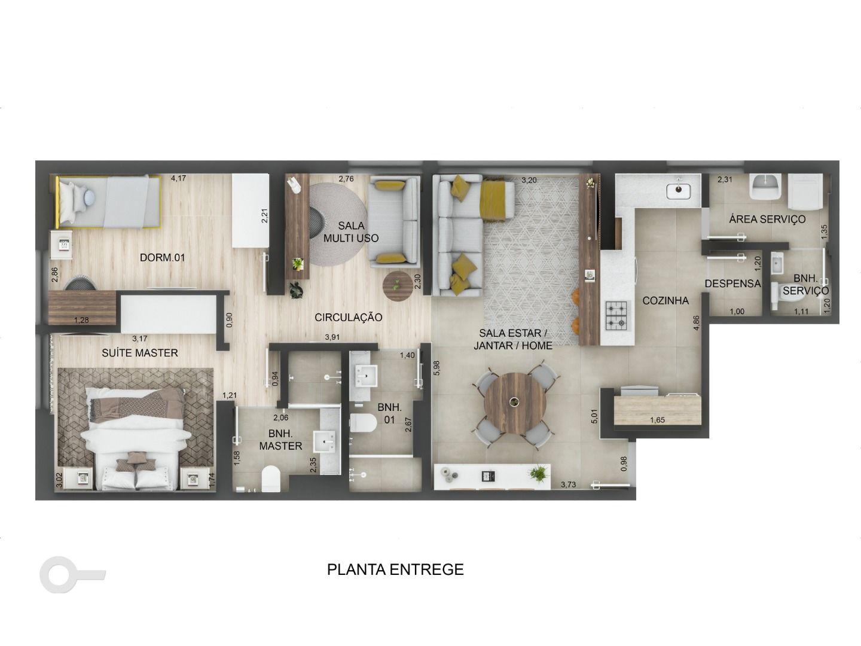 82 M² - 2 QUARTOS, SENDO 1 SUÍTE. (Apartamento 304, 3º andar).