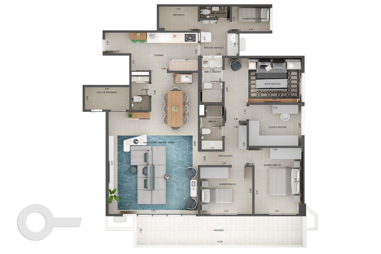 153 M² - 3 QUARTOS, SENDO 1 SUÍTE. (Apartamento 301, 3º andar).