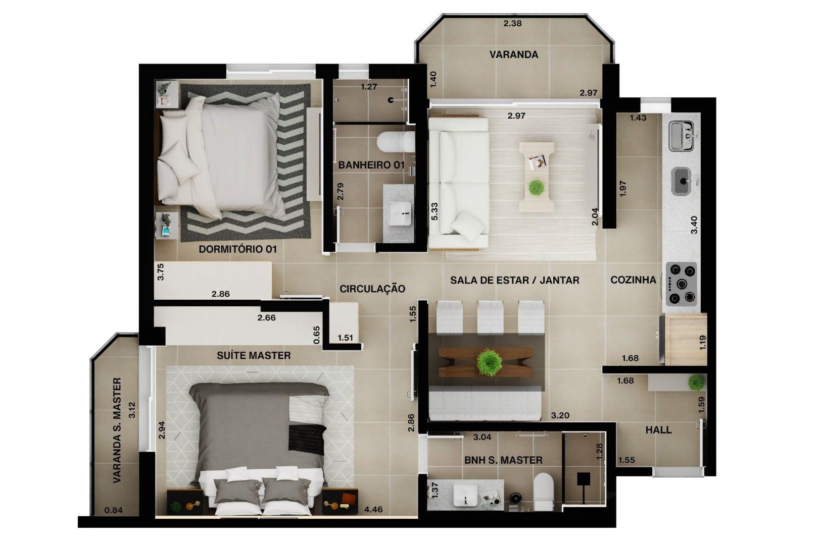 70 M² - 2 QUARTOS, SENDO 1 SUÍTE. (Apartamento 507, 5º andar).