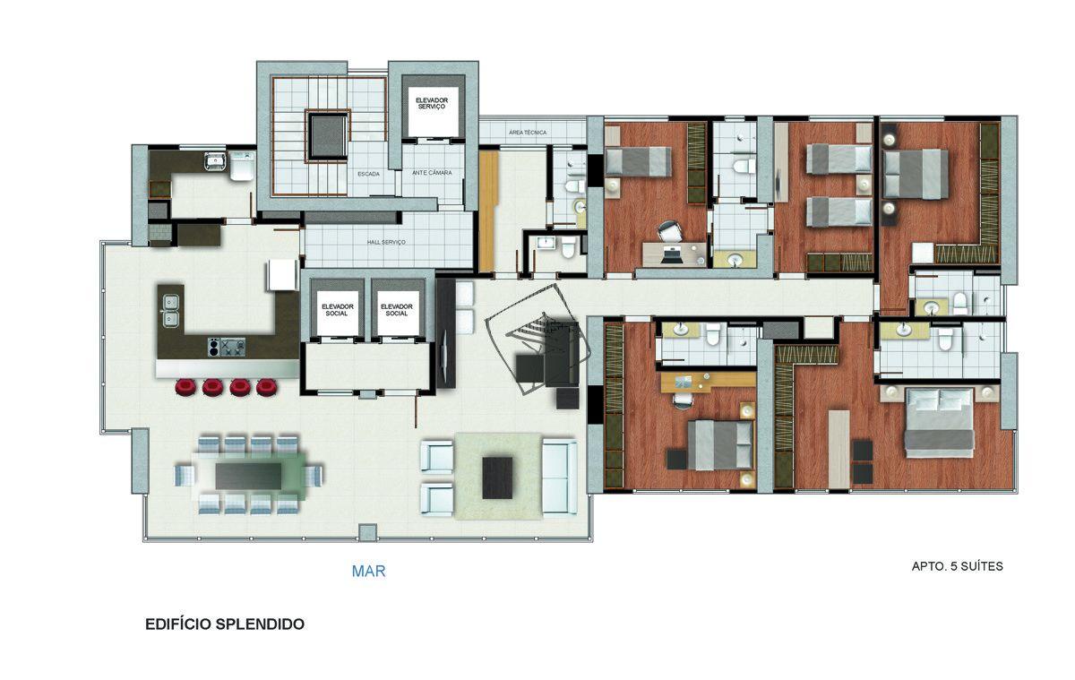 Planta do Edifício Splendido. 301 M² - 5 QUARTOS, SENDO 3 SUÍTES E 1 SEMI-SUÍTE.