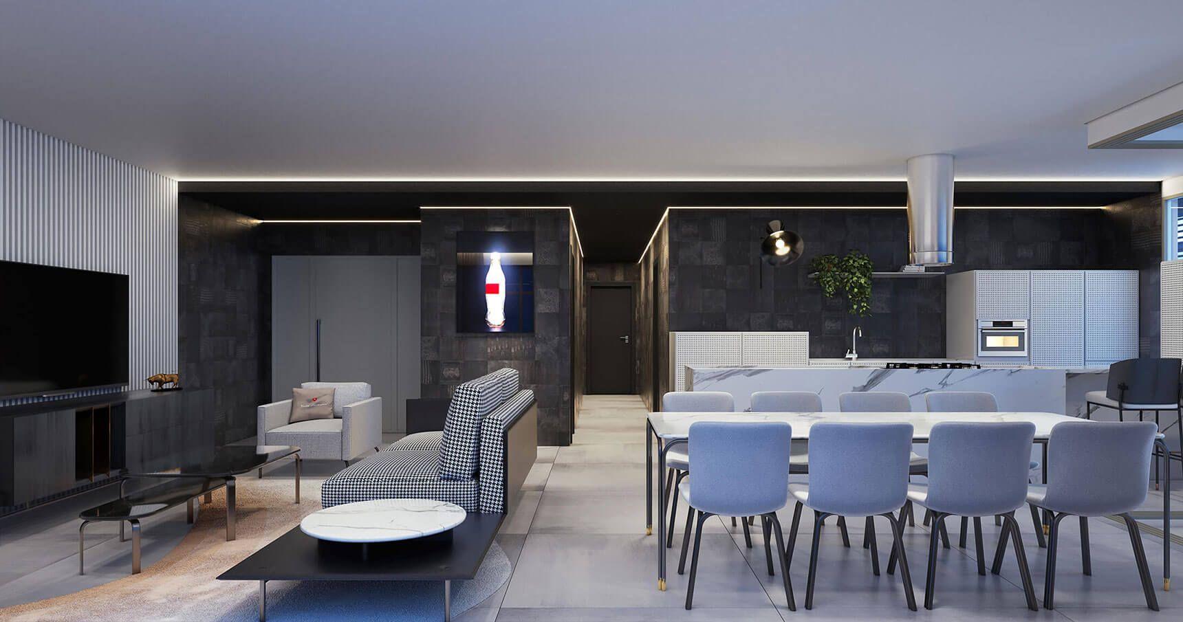 LIVING do apto de 194 m² integrando as salas de estar e jantar com a cozinha, com o espaço completamente conectado a área de receber é ampliada. O ambiente também possui belíssima vista da região.