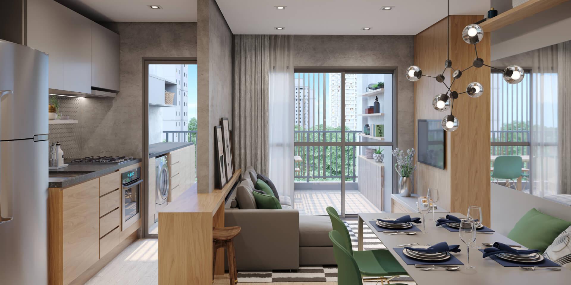 LIVING com áreas de estar e jantar integradas, criando um confortável ambiente social para receber bem seus amigos e família. Destaque para passagem direta entre cozinha e terraço, garantindo uma circulação fluída entre os espaços.