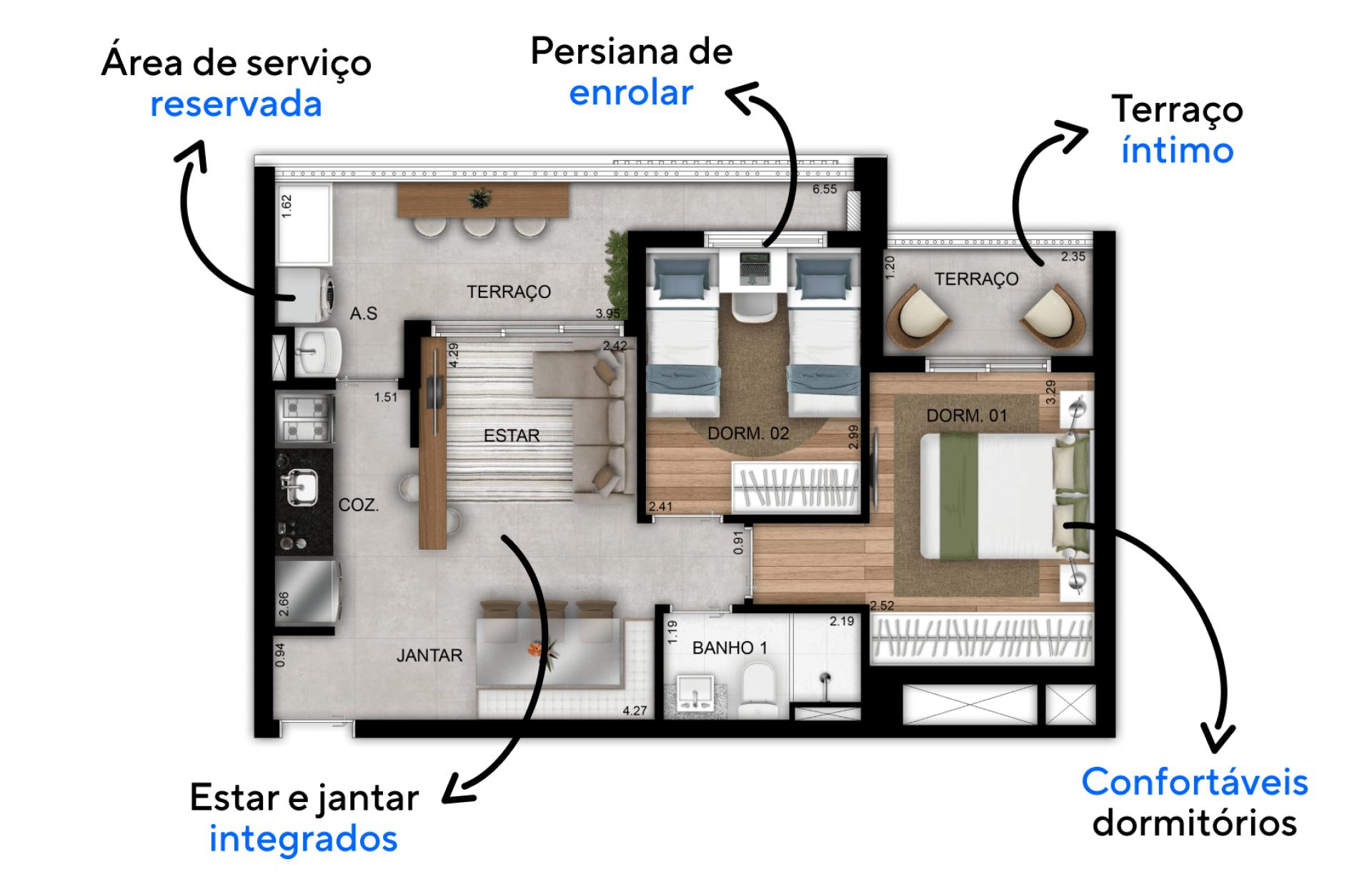 56 M² - 2 DORMITÓRIOS. Apartamentos com configuração funcional para o dia a dia da família, com 2 dormitórios, living integrado, cozinha linear e terraço, possui tudo o que é preciso para viver bem e confortavelmente!