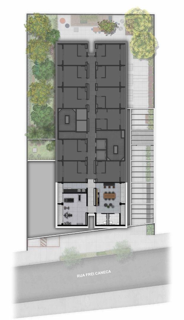 IMPLANTAÇÃO - PAVIMENTO. O condomínio conta com fitness e espaço multiuso destinados às unidades de serviço de moradia. Estes espaços estão localizados em um pavimento distinto.