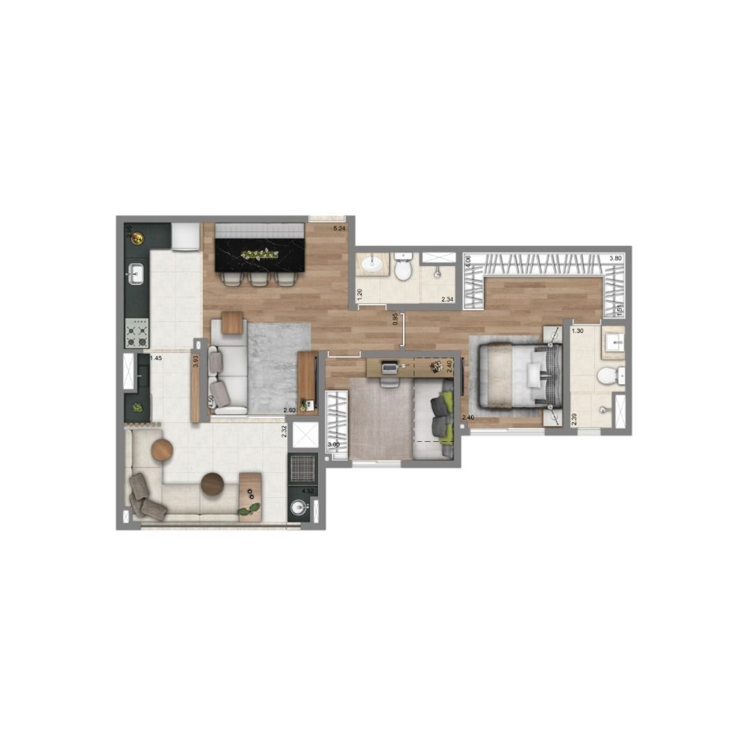 Planta do Living Vila Mariana. floorplan