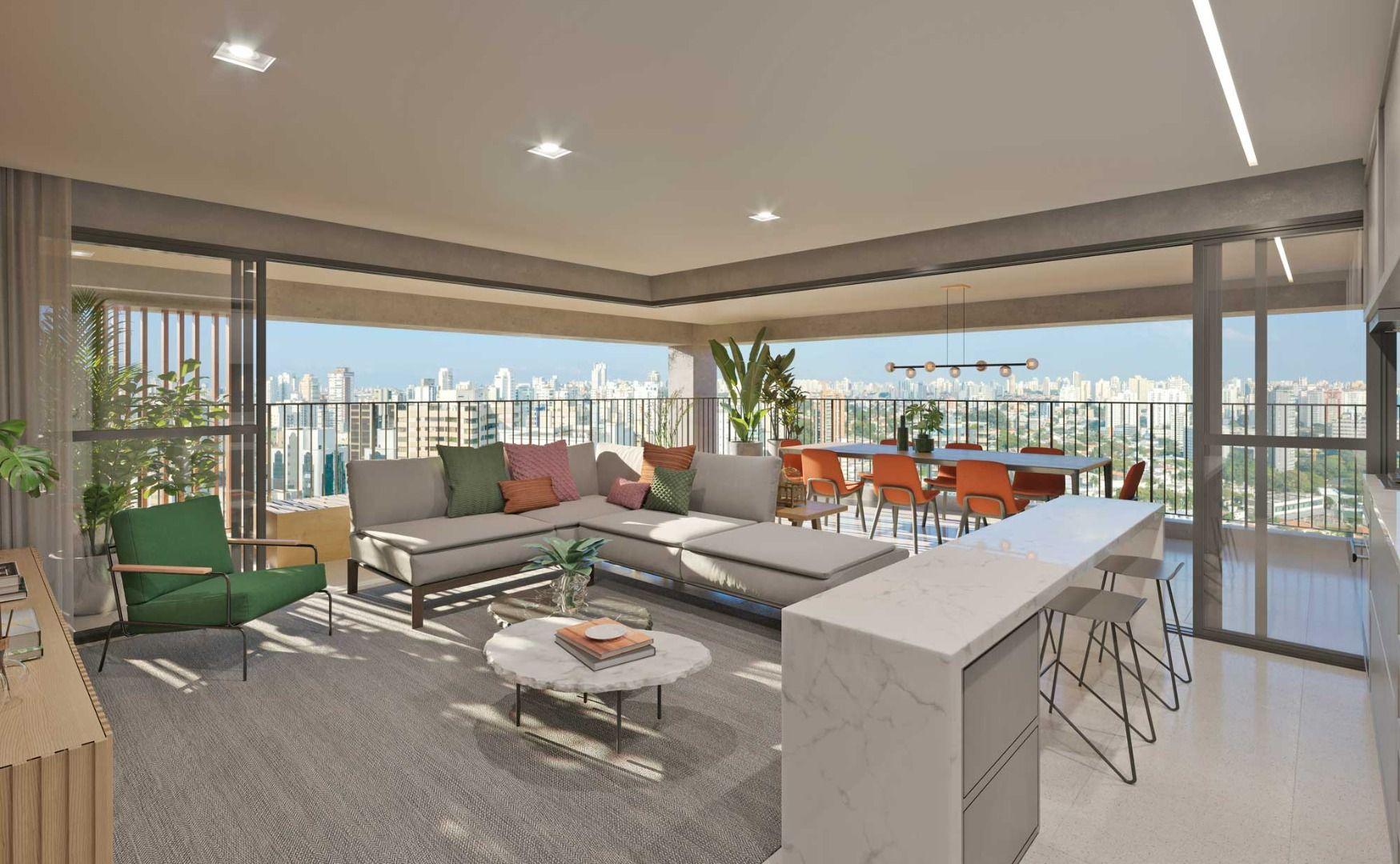 LIVING do apto de 99 m² com portas de correr que integram o ambiente ao terraço. Mais de 35 m² de área social para você receber os amigos e a família!