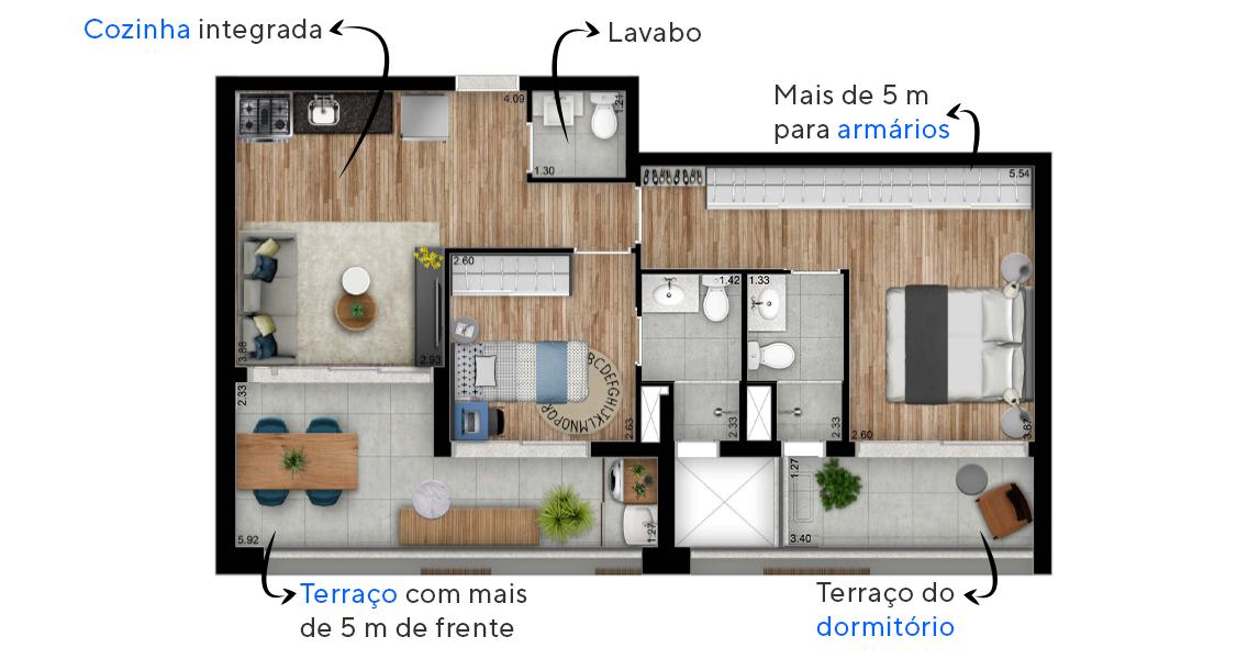 69 M² - 2 SUÍTES. Apartamentos em Perdizes com cozinha integrada e lavabo. Destaque para a suíte principal, com terraço privativo e amplo espaço para armários.