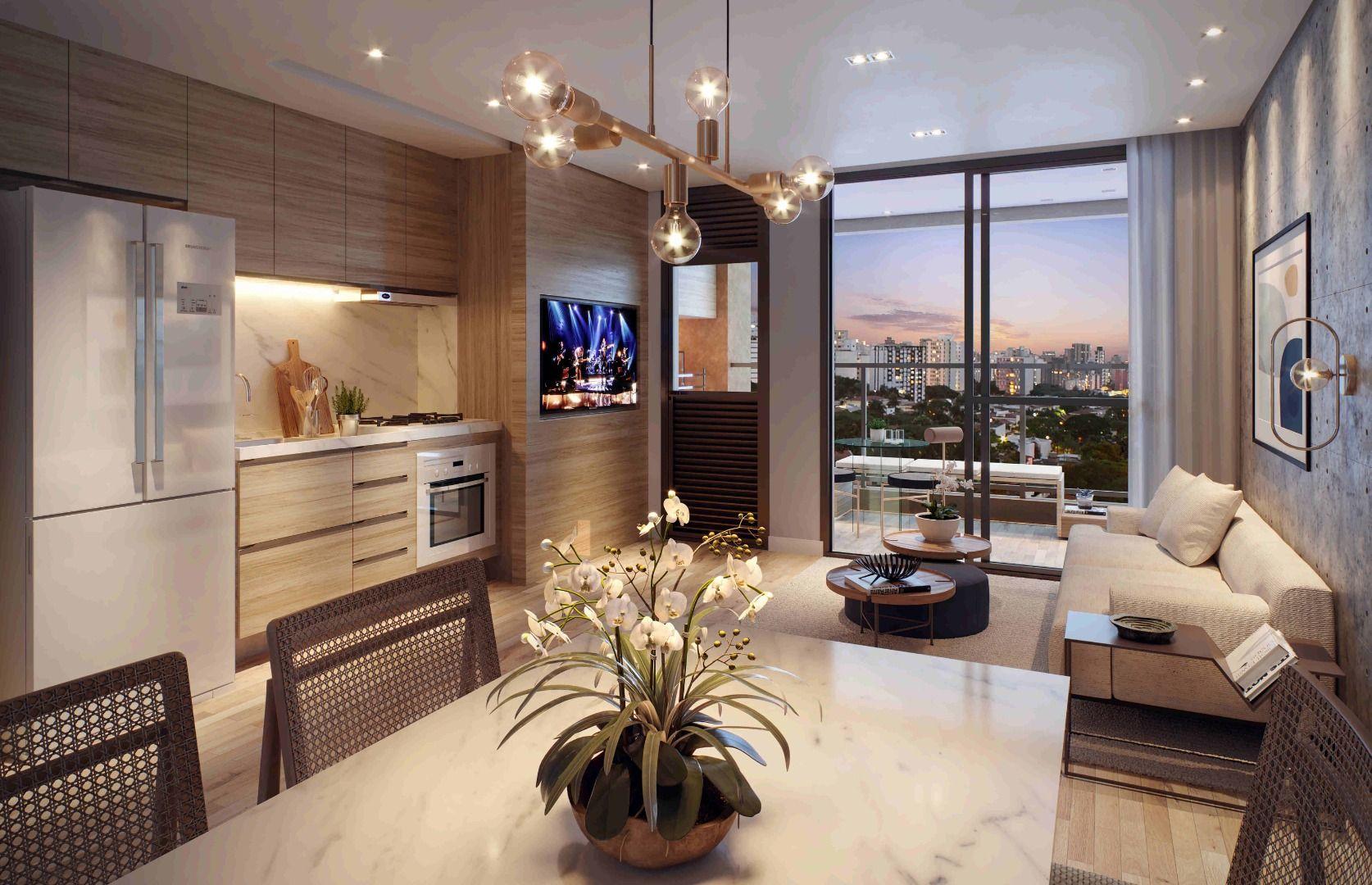 LIVING do apto de 66 m² com salas de estar e jantar integradas a cozinha. O interior do apartamento se conecta visualmente com a paisagem externa, as portas e guarda-corpo de vidro permitem a criação de uma vista sem barreiras.